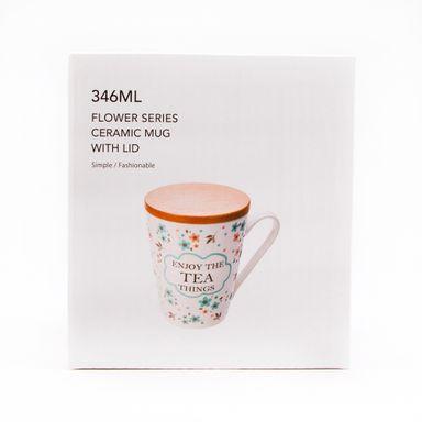 Taza de cerámica flower verde -  Miniso