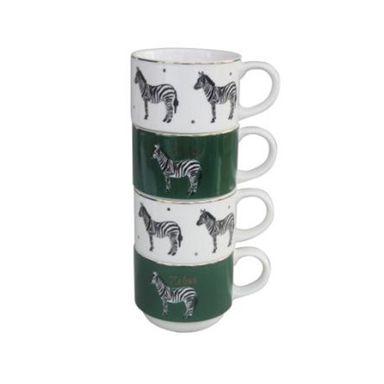 Taza para café con ilustración de zebra 4 pzas rainforest series -  Energy Of Fruits