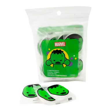 Toalla facial comprimida 10 cápsulas hulk/thor   -  Marvel