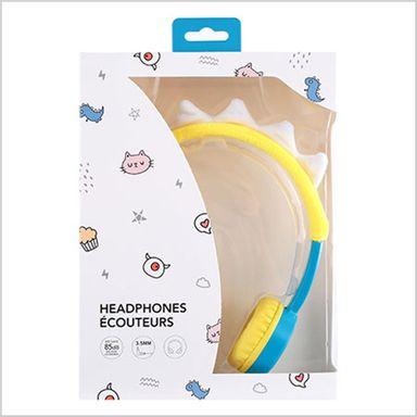 Audífono de diadema para niños little monster amarillo y azul -  Miniso