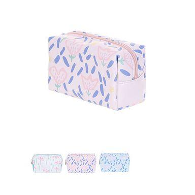 Cosmetiquera rectangular floral mixto rosado/lila/celeste -  Miniso