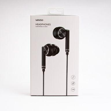 Audifonos de cable metalicos negro - Miniso