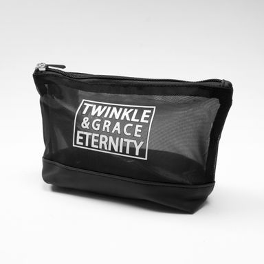 Cosmetiquera cuadrada de gasa de malla twinkle & grace eternity negro -  Miniso