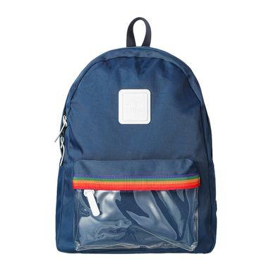 Mochila con bolso en frente arcoiris azul -  Miniso