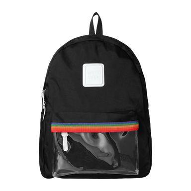 Mochila con bolso en frente arcoiris negro -  Miniso