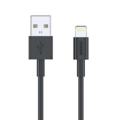 Cable de carga rápida usb a lightning negro 24a 1 mt -  Miniso